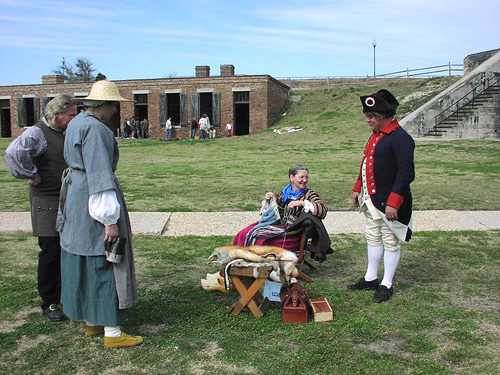 Re-enactors on the grounds